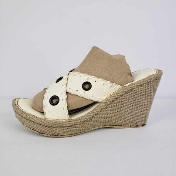 Born White Leather Wedge Sandals Size 9